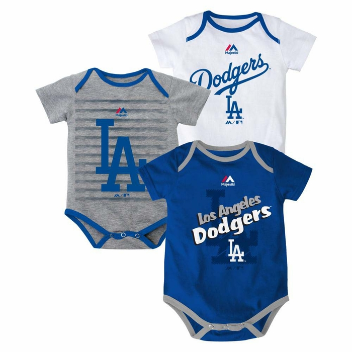Los Angeles Dodgers Newborn Majestic Triple Play 3 Pack