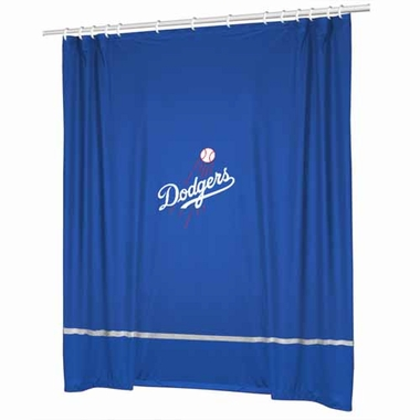 Los Angeles Dodgers SIDELINES Jersey Material Shower Curtain