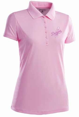 Los Angeles Dodgers Womens Pique Xtra Lite Polo Shirt (Color: Pink)