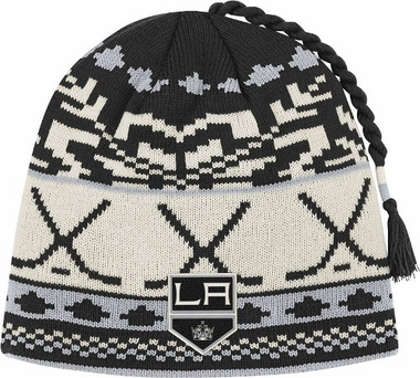Los Angeles Kings Jacquard Pattern Hocky Stick Tassel Cuffless Knit Hat