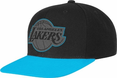 Los Angeles Lakers Adidas Neon Brim Snap Back Hat (Blue)
