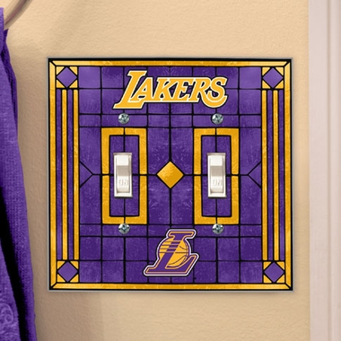 Los Angeles Lakers Art Glass Lightswitch Cover (Double)