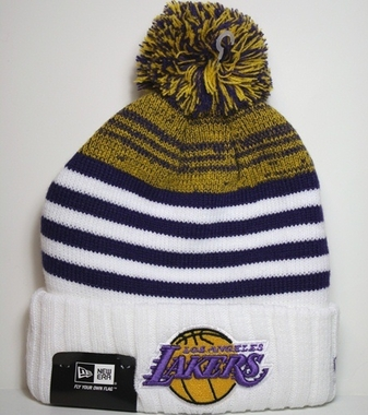 Los Angeles Lakers New Era NBA Snowfall Stripe Cuffed Knit Hat