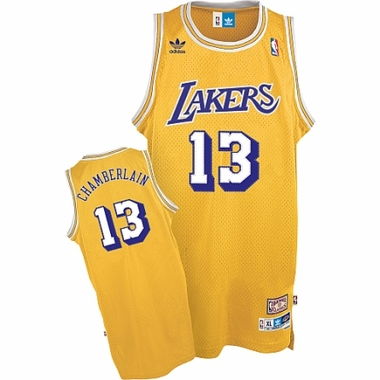 Los Angeles Lakers Wilt Chamberlain Adidas Team Color Throwback Replica Premiere Jersey