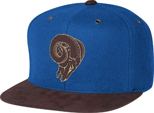 Los Angeles Rams Mitchell   Ness NFL Throwback Winter Suede Strapback Hat 1e7d5133cff3