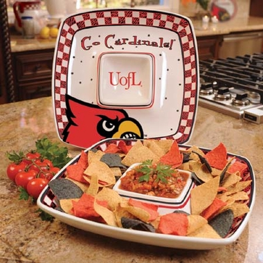 Louisville Gameday Ceramic Chip and Dip Platter
