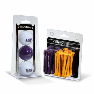 LSU 3 Golf Balls And 50 Golf Tees