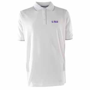 LSU Mens Elite Polo Shirt (Color: White) - Small