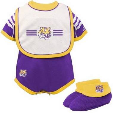 LSU Infant 3 Piece Creeper Set