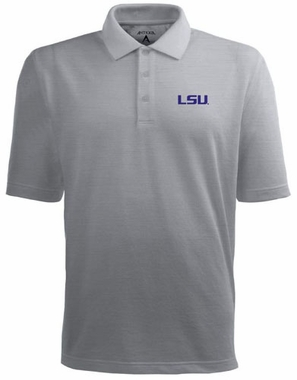 LSU Mens Pique Xtra Lite Polo Shirt (Color: Silver)