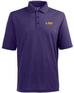 LSU Mens Pique Xtra Lite Polo Shirt (Color: Purple) - Large