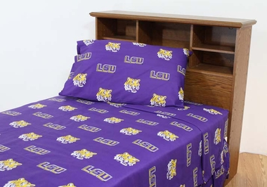 LSU Printed Sheet Set Twin - Solid