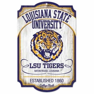 LSU Tigers Wood Sign - College Vault