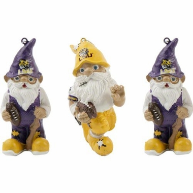 LSU Tigers 2012 Gnome 3 Pack Ornament Set