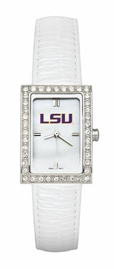 LSU Women's White Leather Strap Allure Watch