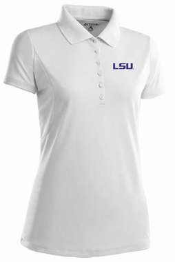 LSU Womens Pique Xtra Lite Polo Shirt (Color: White)