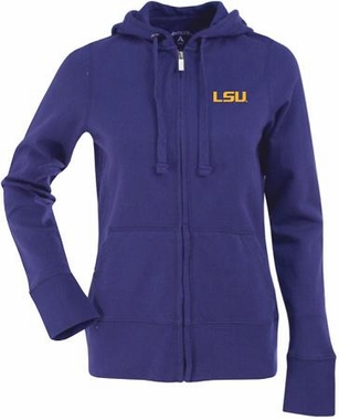 LSU Womens Zip Front Hoody Sweatshirt (Color: Purple)