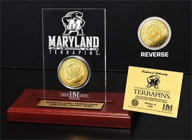 Maryland Terripans Maryland Terrapins 24KT Gold Coin Etched Acrylic