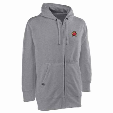 Maryland Mens Signature Full Zip Hooded Sweatshirt (Color: Silver)
