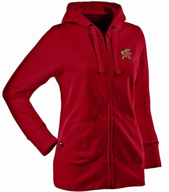 Maryland Womens Zip Front Hoody Sweatshirt (Color: Red)