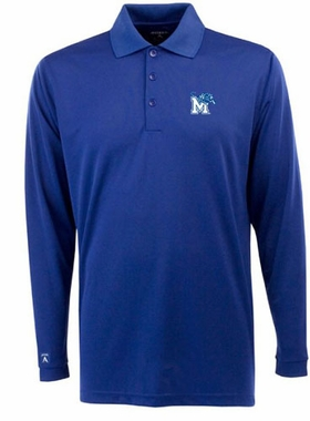 Memphis Mens Long Sleeve Polo Shirt (Color: Blue)