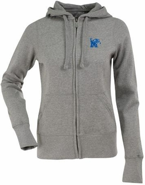 Memphis Womens Zip Front Hoody Sweatshirt (Color: Silver)