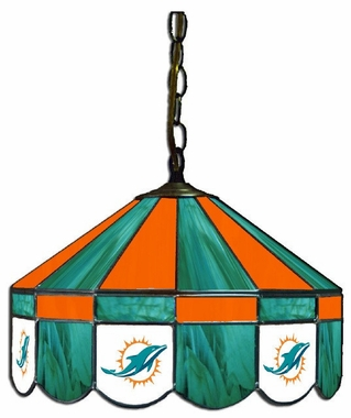 Miami Dolphins 16 Inch Diameter Stained Glass Pub Light