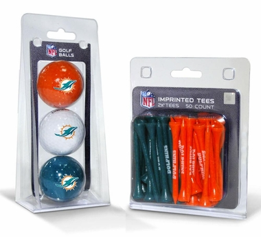 Miami Dolphins 3 Glaf Balls and 50 Tees