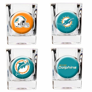 Miami Dolphins 4 Piece Assorted Shot Glass Set