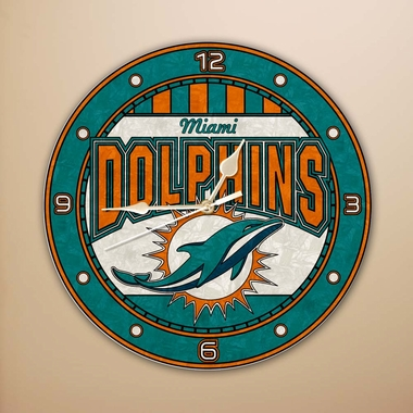 Miami Dolphins Art Glass Clock