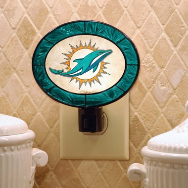 Miami Dolphins Art Glass Night Light