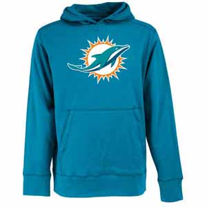 Miami Dolphins Big Logo Mens Signature Hooded Sweatshirt (Color: Teal) - Medium
