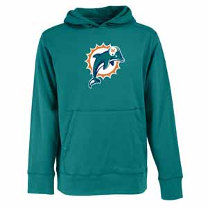 Miami Dolphins Mens Big Logo Signature Hooded Sweatshirt (Color: Teal) - XXX-Large
