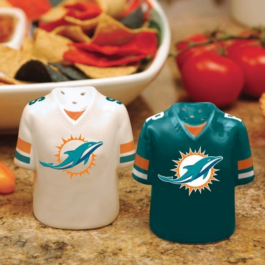 Miami Dolphins Ceramic Jersey Salt and Pepper Shakers