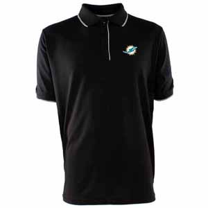 Miami Dolphins Mens Elite Polo Shirt (Color: Black) - Small