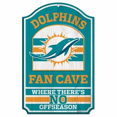 """Miami Dolphins Wood Sign - 11""""x17"""" Fan Cave Design"""