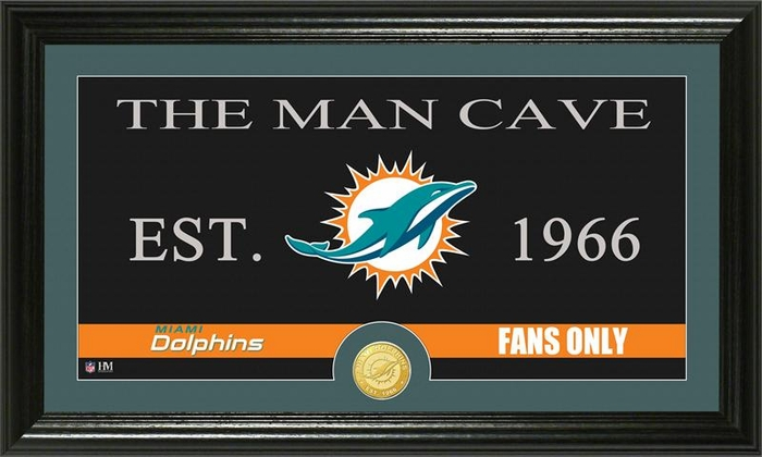 Man Cave Store Miami : Miami dolphins quot man cave bronze coin panoramic photo mint