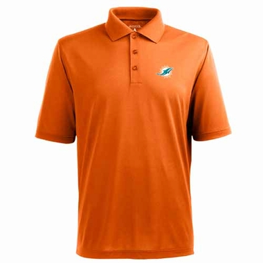 Miami Dolphins Mens Pique Xtra Lite Polo Shirt (Color: Orange)