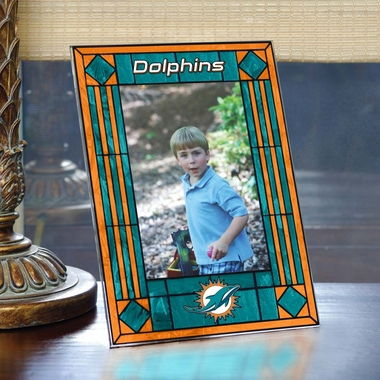 Miami Dolphins Portrait Art Glass Picture Frame