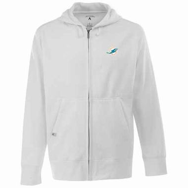 Miami Dolphins Mens Signature Full Zip Hooded Sweatshirt (Color: White)