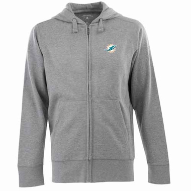 Miami Dolphins Mens Signature Full Zip Hooded Sweatshirt (Color: Gray)