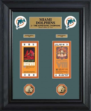 Miami Dolphins Miami Dolphins Super Bowl Ticket and Game Coin Collection Framed