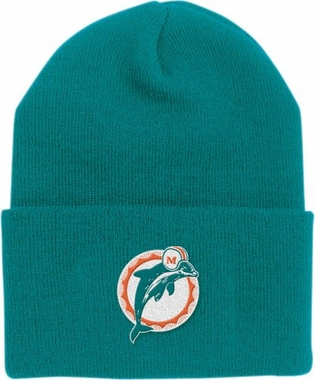 Miami Dolphins Throwback Logo Cuffed Knit Hat