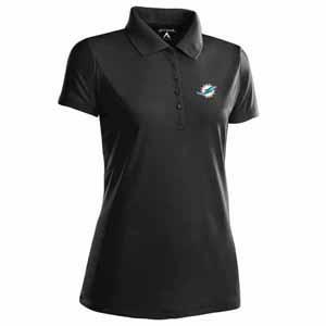 Miami Dolphins Womens Pique Xtra Lite Polo Shirt (Color: Black) - Medium