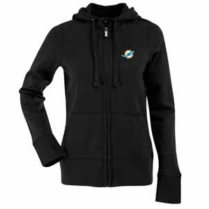 Miami Dolphins Womens Zip Front Hoody Sweatshirt (Color: Black) - Small
