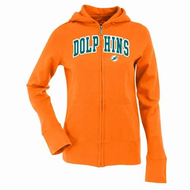 Miami Dolphins Applique Womens Zip Front Hoody Sweatshirt (Color: Orange)
