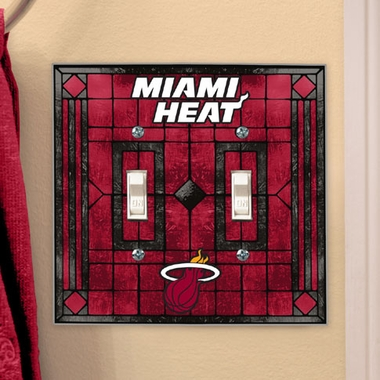 Miami Heat Art Glass Lightswitch Cover (Double)