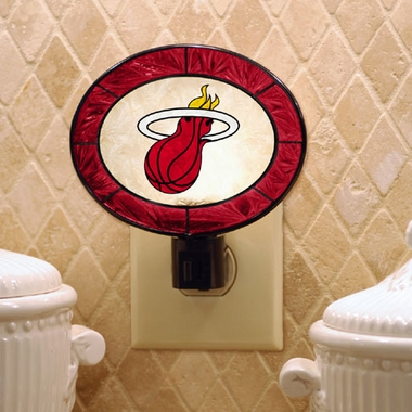 Miami Heat Art Glass Night Light