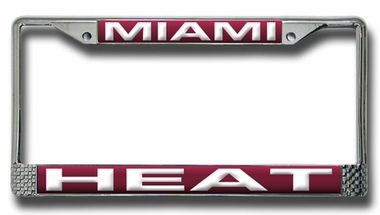 Miami Heat Laser Etched Chrome License Plate Frame