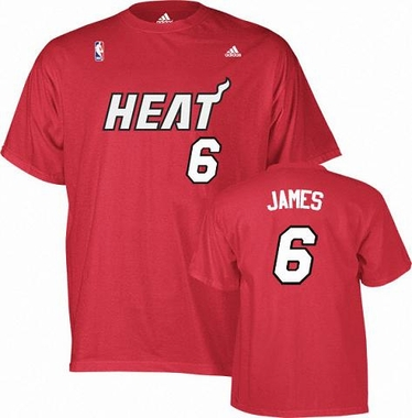 Miami Heat Lebron James Player Name and Number T-Shirt (Red)